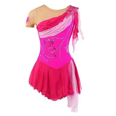 Heart&M Handgefertigt Rollschuhkleid Eiskunstlauf Kleid für Mädchen Kinder Eislaufen Wettbewerb Kostüm Mint Kristalle Pailletten Kurzarm Fuchsie, 12