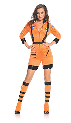 Galaxy Female Astronaut Stretch Romper Costume Orange Adult Large