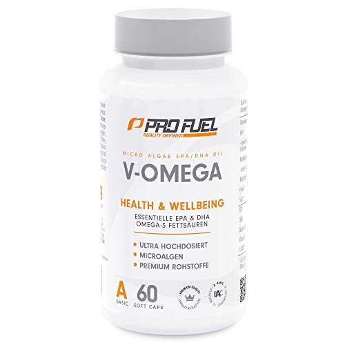 V-OMEGA | Hochwertige Omega-3 Fettsäuren | Hochdosiert • EPA & DHA | 100% Vegan - KEIN Fischöl | DAS ORIGINAL von ProFuel | Made in Germany