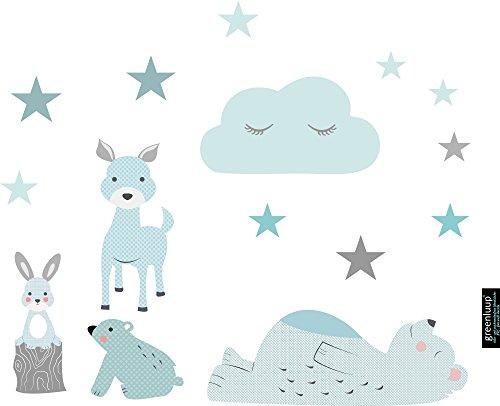greenluup Wandsticker Wandaufkleber aus ökologischen Materialien Waldtiere Bär Hase Reh Sterne in Blau mit Mustern (Waldtiere Blau) Kinderzimmer Babyzimmer (Baby-jungen Reh Kinderzimmer)