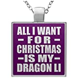 Designsify All I Want for Christmas is My Dragon Li - Square Necklace Purple/One Size, Kette Silber Beschichtet Charme-Anhänger, Geschenk für Geburtstag, Weihnachten