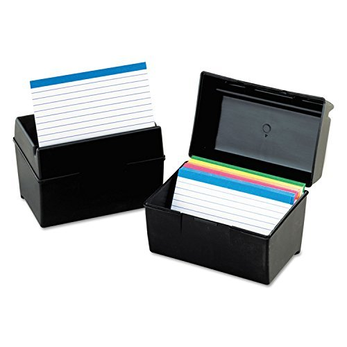 Oxford 01461 Plastic Index Card Flip Top File Box Holds 400 4 x 6 Cards, Matte Black by Oxford (Box Index File 4x6 Card)
