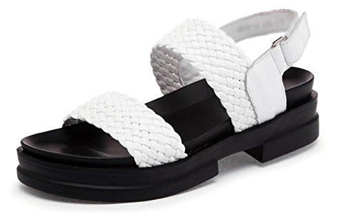Chaussures d'été des sandales plates en cuir sandales femmes étudiants tissées White