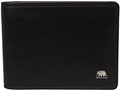 Brown Bear Geldbörse Herren Leder schwarz flach mit Münzfach 8061 bk