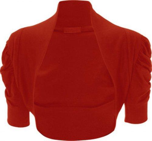 Femmes Grande Taille ruché manches 3/4 cultures cardigan boléro dessus de hausser Rouge - Rouge
