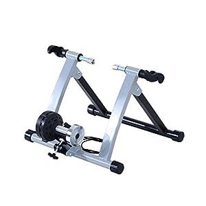 HOMCOM Rodillo Entrenamiento Bicicleta 5 Niveles de Resistencia por cable Cicloentrenador Acero Bici color Plata