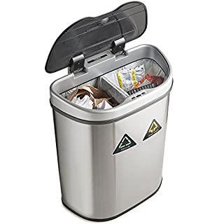 VonHaus Recycling Sensor Bin for Kitchen Waste | Automatic LED Motion Detection Lid | Large 70L Rubbish Capacity | 2 Recycle Compartments | Robust Metal Body with Stainless Steel Finish
