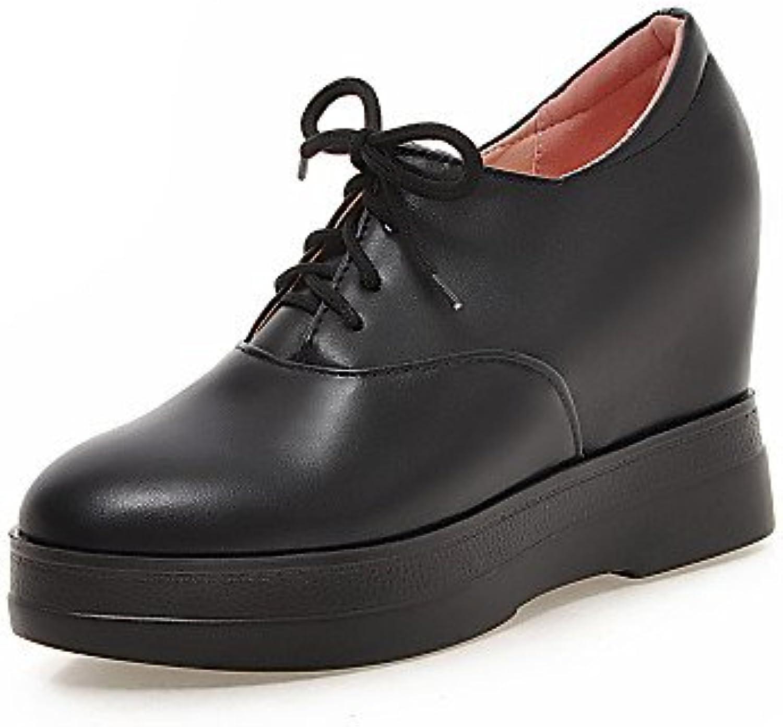 NJX/ hug Zapatos de mujer - Tacón Cuña - Cuñas - Tacones - Casual - Semicuero - Negro / Rojo / Beige , beige-us5.5...