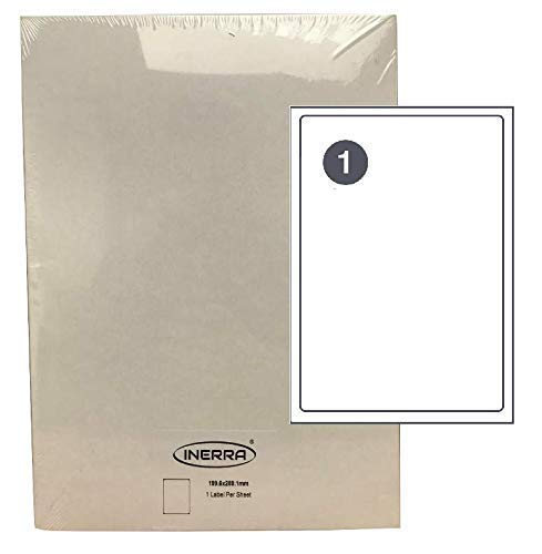 INERRA Undurchsichtig A4 Blanko Etiketten - Aufkleber mit Rückseite Film - 1 Etikett pro Seite L7167/J8167-60 Sheets