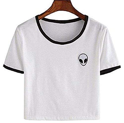 Lannorn Damen Sommer Short Sleeve Runden Hals Aliens Shirt Tee, Hemd Niedlich Ausgesetzt Nabel lose Print pullover Bluse Lassige Crop Tops. (Alien-tee)