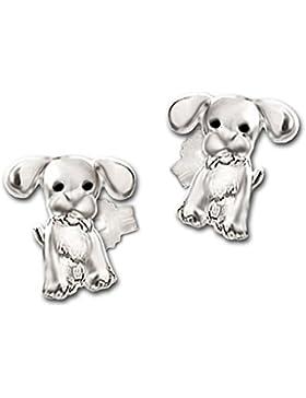 CLEVER SCHMUCK Silberne kleine Ohrstecker Mini Hunde 6 x 5 mm mit schwarzen Augen STERLING SILBER 925 für Kinder