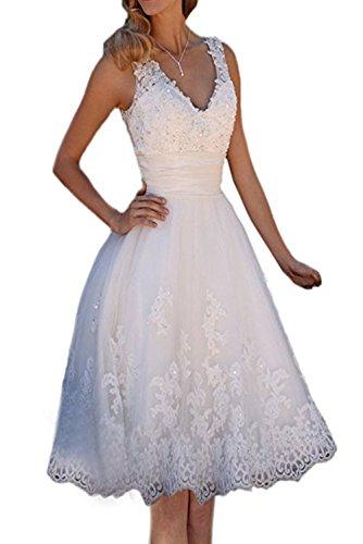 NUOJIA A Linie V-AusschnittTüll Spitze Brautkleider Kurz Strand Hochzeitskleider Weiß 36