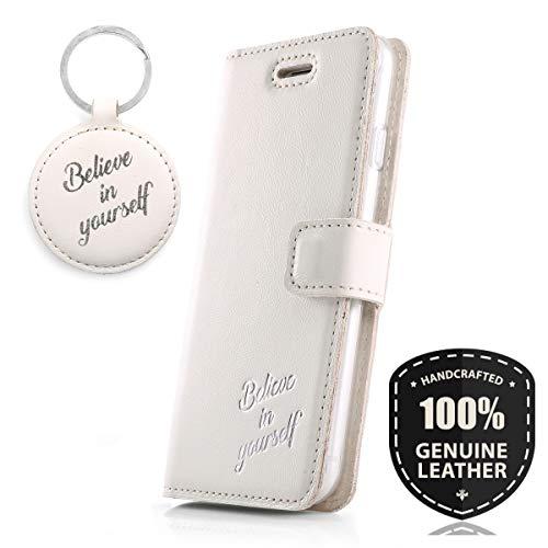 Believe Silber - Premium Vintage Ledertasche Schutzhülle Wallet Case aus Echtesleder Farbe Weiss für Huawei P10 Lite (5,20 Zoll)