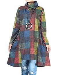 Mallimoda Donna Maglione Vestito Collo Alto Manica Lunga Plaid Pullover Top