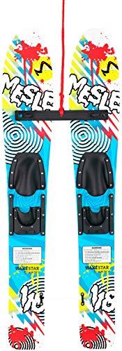 MESLE Wasserski Wake Star 118 cm, Paar-Ski Trainer-Set für Kinder bis 45 kg, Lernski, blau weiß grün