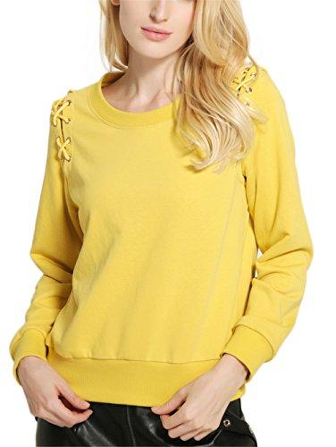 Fashion Cluster Femmes Casual Décontractée col rond manche longue Lace-up Sweat-shirt pullover capuche T-shirt Blouse Tops Jaune