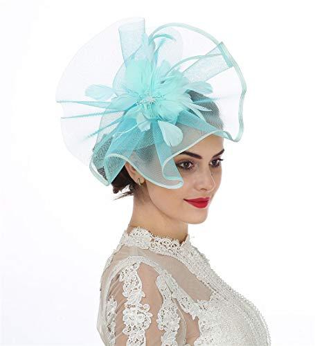 Fascinators Hut Blume Mesh Bänder Federn auf einem Stirnband und einem geteilten Clip Cocktail Tea Party Hochzeit Kirche Headwear für Mädchen und Frauen Braut (A1-Blue)