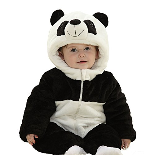 Baby's Winter Flannel Pajamas Suit Cosplay Costume Animal Romper Onesie Outwear Sleepwear Nightwear Outfits (Panda, M) (Cute Panda-outfit)