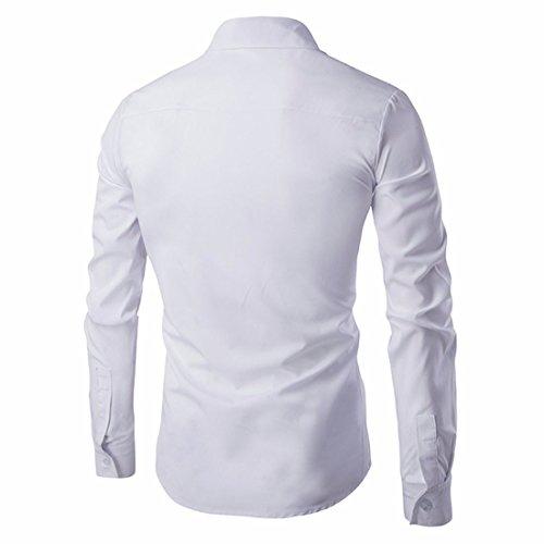 QIYUN.Z Uomini Lungo Il Pulsante Manica Giù Sottile Camicia Di Vestito Camicia Pianura Casuale In Forma Bianco-74
