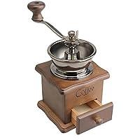 WONZOM - Molinillo de café manual con soporte de madera (tamaño pequeño), diseño antiguo