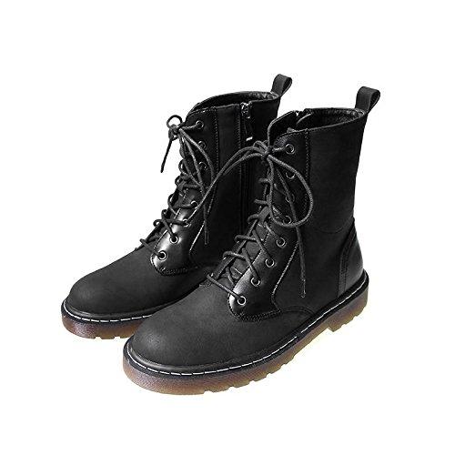 &zhou femelle Martin bottes automne et bottes d'hiver la mode des bottes de moto coton Black