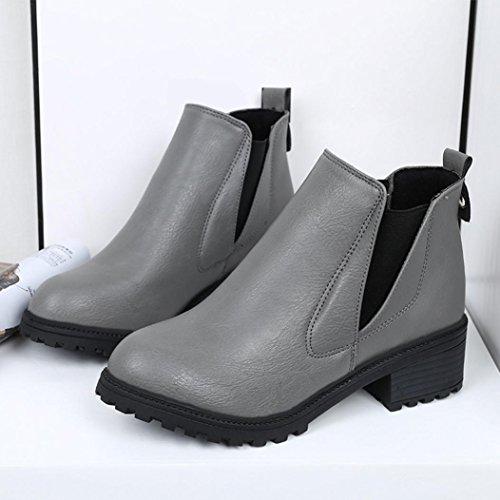 FEITONG Frauen Winter Knöchel Aufladungen niedrige Fersen Aufladungen Herbst Winter Aufladungs Schuhe Grau