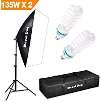 MOUNTDOG Softbox Lighting Photo Studio Kit Soft box 2x135W Continuous Light Bulb with Carrying Bag Photography Equipment for Photoshooting Video Portrait