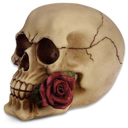 Deko Totenkopf ''Don Juan begone'' - rote Rosen - Totenschädel Figur ()