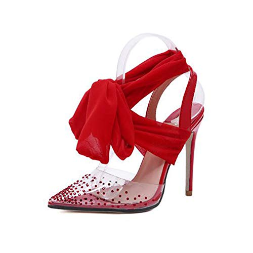 a2c30f179 Heyaya Women es Fashion Sandalen, Ladies Single Shoes 2019 Spring New Pointed  Rhinestone Scarf Stilettos