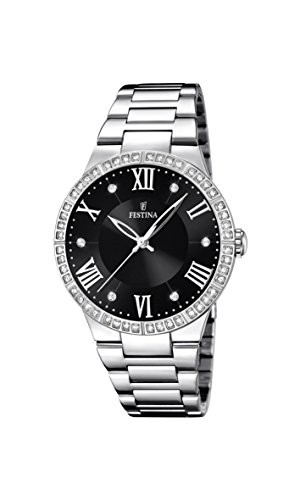 Festina Women's Quartz Watch with Black Dial Analogue Display and Silver Stainless Steel Bracelet F16719/2