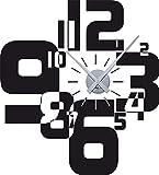 Graz Design Wandtattoo Uhr Wanduhr mit Uhrwerk für Wohnzimmer moderner Zahlenmix Zahlen (63x57cm//070 schwarz//Uhrwerk silber)