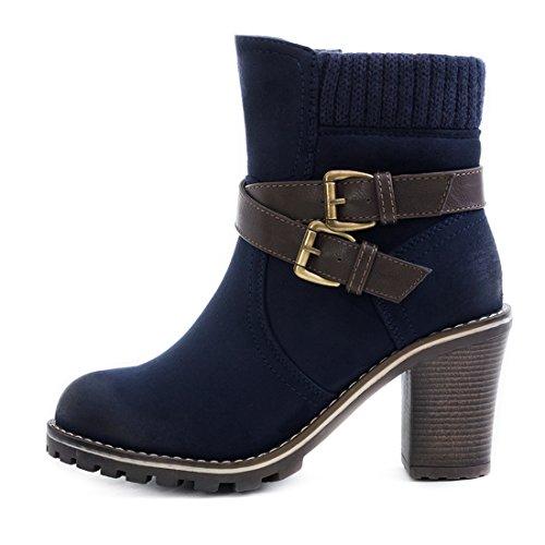 Damen Stiefel Stiefeletten Chelsea Boots mit Blockabsatz Dunkelblau