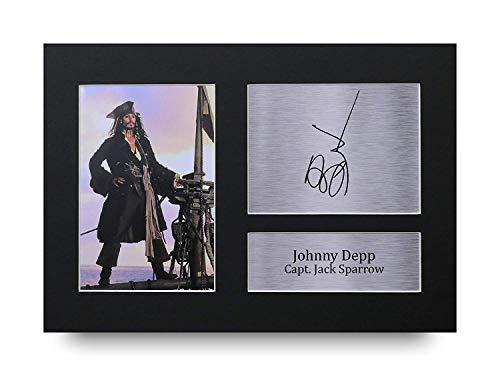 HWC Trading Johnny Depp Geschenke Unterzeichneten A4 Gedrucktes Autogramm Pirates The Caribbean Jack Sparrow Druck-Foto-Bilderanzeige