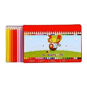 Relaxdays 10023880 - Lápices de Colores para niños, 30 Unidades, 15 Colores, en Caja de Metal, Juego de Dibujos, Madera, lápices de Colores