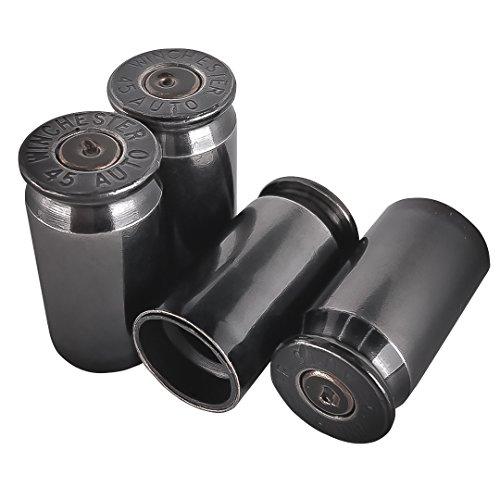 Echt Bullet Ventil Vorbau-Kappen Set von 4Messing Custom Metallic authentische Qualität Silber Poliert Chrom Bullet Easy Rad Schraube an Tire Decken Auto Truck Kappen -