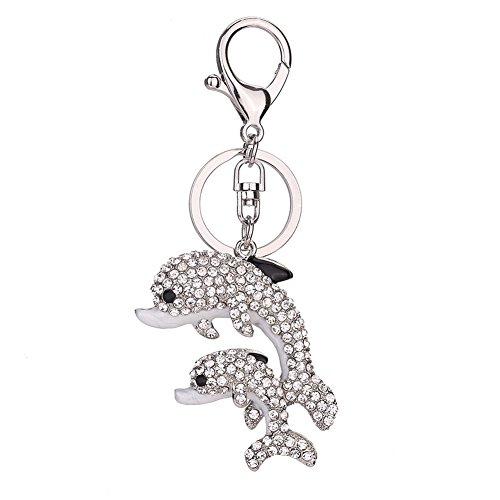 Teydhao Schlüsselanhänger für Damen, Kristall, doppelt, Delfine, Strass, Schlüsselanhänger, Schlüsselanhänger, Schlüsselkette Silver White M