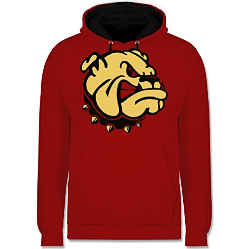 Hunde - Bulldogge - Kontrast Hoodie Rot/Schwarz