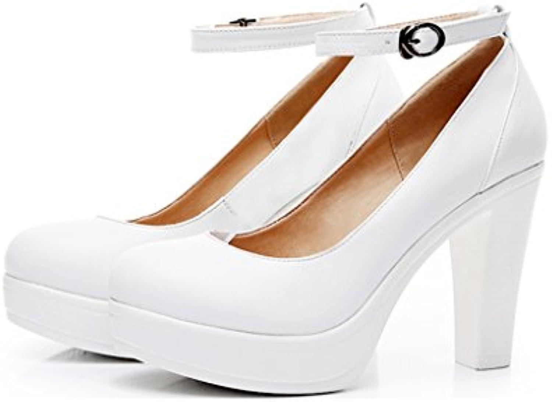 Single Chaussure s - female Chaussures pour femmes rugueuses avec des des avec chaussures à tête ronde mariage banquet blanc...B07D6N5372Parent 9a60f6