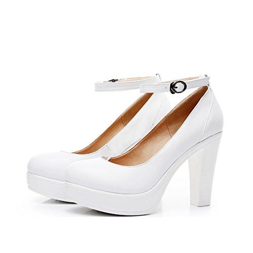 Single shoes - female Scarpe da donna ruvide con tacco alto scarpe da sposa banchetto bianco tacchi alti (Colore : High 10cm, dimensioni : 37-Shoes long235mm)