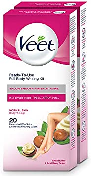 Veet Full Body Waxing Kit for Normal Skin - 20 Strips (Pack of 2)