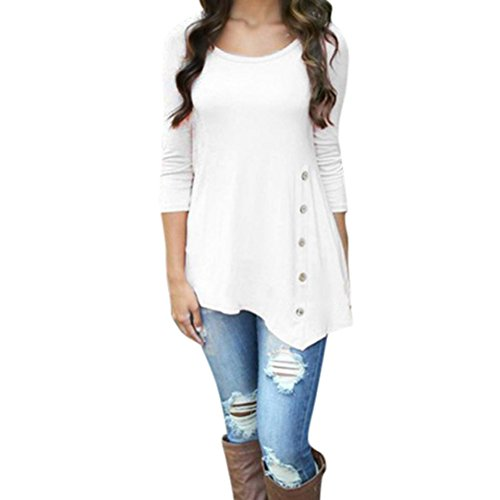 Hevoiok Damen Einfarbig Lose Knopf Oberteile, Neu Mode Plus Größe Freizeit Frühling Rundhals T Shirt Trim Hemdbluse Frauen Langarm Tunika Hemd Bluse Tops (White, 2XL) (Frühjahr Modisch)