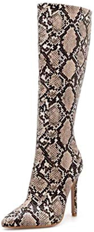 Mamrar 10,5 Centimetri a a a Spillo gambaletto Donne Sexy Aguzza Toe Serpente Modello Partito Abito avvio Knight avvio...   attività di esportazione in linea  13d74f