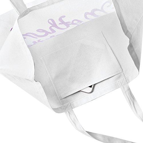 ElegantPark Bride Sacchetto di cotone per il regali di nozze Cotone Bianco 100% con scritto rosa Bride