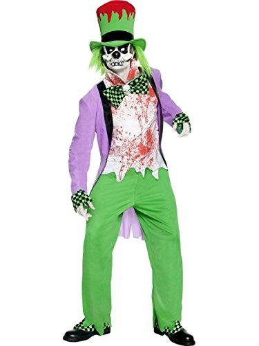 Böser Kostüm Hutmacher - Smiffys Herren Kostüm Böser Hutmacher Skelett Halloween Größe S