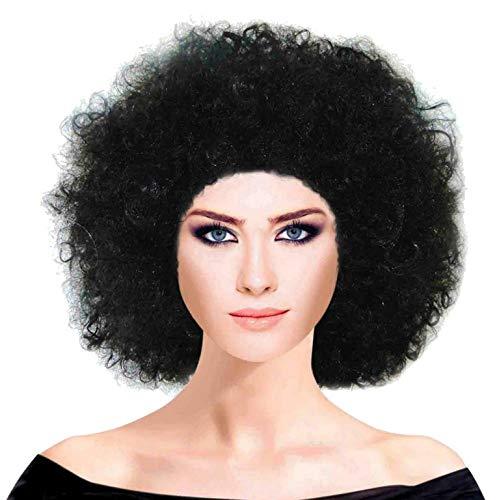Piccoli monelli parrucca afro anni 70 uomo donna parrucca adulti di carnevale colore nero adatta anche zulu pagliaccio