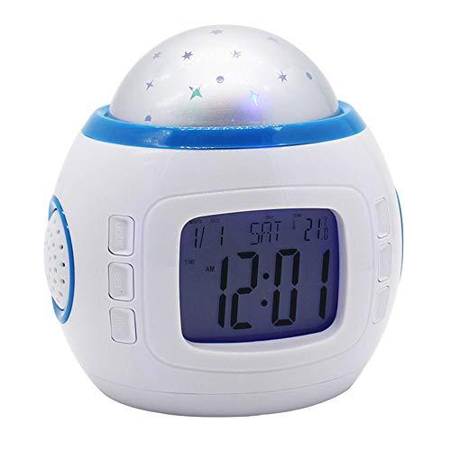 HYYQG Projektions Wecker, 7 Farbe Musik Led Star Sky Projektion Romantische Nachtlichter Spielzeug Tischlampen Mit Digitalem Kalender Thermometer Kinder Baby MäDchen Jungen Schlafzimmer