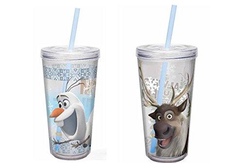 Disney Frozen 16Oz isoliert Wasser, Tumbler mit Stroh Set 1–Olaf Und ()
