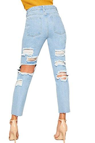 WearAll Damen Ausgebeult Breite Bein Extrem Zerrissene Denim Mom Jeans Damen  Hose Hose - Hellblau - 38 0900989101