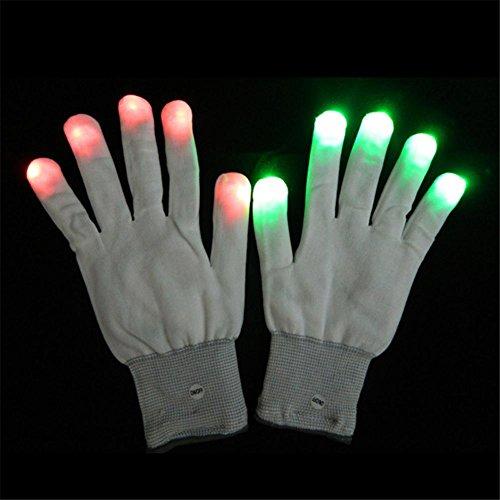 dschuhe Leuchtend Regenbogen Handschuhe Bunt Blinken Licht emittierende Handschuh Weiß Gestrickt Vollfinger Fäustling Für Festivals, Halloween, Feuer, Nachtfeier, Spiele ()