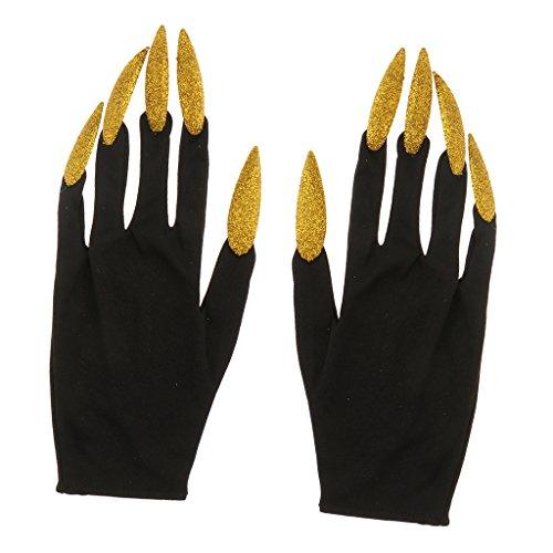 (Sharplace Handschuhe mit Lange Fingernägel Krallen Gold für Halloween Party Nachtclub Kostüm)